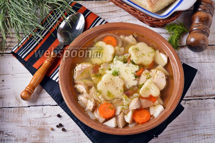 Фото Суп из замороженных белых грибов