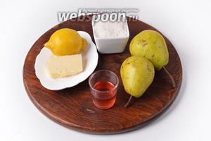 Для работы нам понадобятся груши, сахар, сливочное масло, лимонный сок, красное десертное вино.