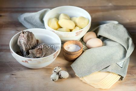Подготовим основные продукты: говяжий бульон, говядину, картошку, масло, сыр, соль и я яйца (куриные и перепелиные).