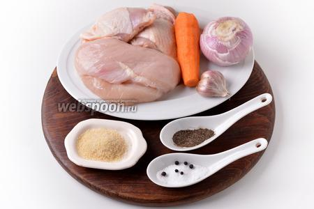 Для работы нам понадобится куриное бедро, куриное филе, морковь, лук, чеснок, желатин, перец чёрный горошком, соль, перец чёрный молотый.