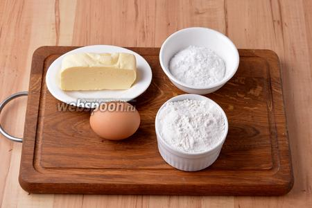 Для работы нам понадобится сливочное масло, сахарная пудра, пшеничная мука, желток куриного яйца.