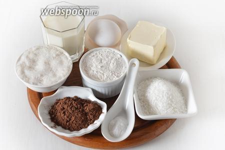 Для работы нам понадобится сливочное масло, молоко, сахар, мука, разрыхлитель, какао, яйцо, мёд.