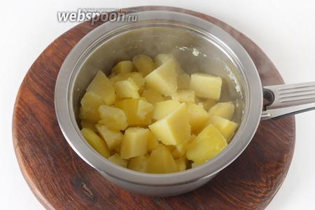 300 грамм картофеля очистить, крупно нарезать и отварить до готовности. Отвар слить, а картофель тщательно размять.