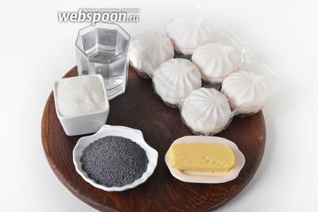 Для приготовления крема нам понадобится сухой мак, молоко, сливочное масло, мелкий сахар (можно использовать сахарную пудру), шоколад.