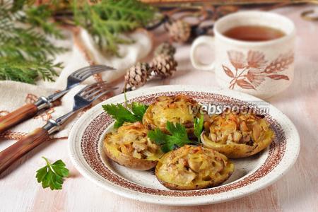 Лодочки из картофеля, фаршированные грибами