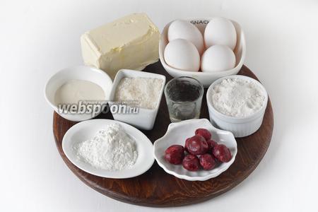 Для работы нам понадобится мука, сахар, яйца, сливочное масло, столовый уксус, кукурузный крахмал, сметана 25%, замороженная вишня.