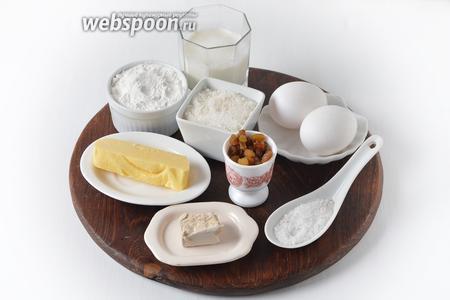 Для работы нам понадобится мука, яичные желтки, сахар, соль, изюм, сливочное масло, молоко, свежие дрожжи.