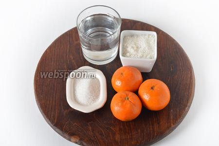Для мандариновой заливки нам понадобится вода, мандарины, сахар, ванильный сахар, быстрорастворимый желатин.