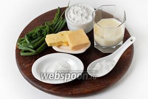 Для работы нам понадобится твёрдый сыр, мука, сливочное масло, разрыхлитель, соль, молоко, пшеничная мука, зелёный лук, укроп.
