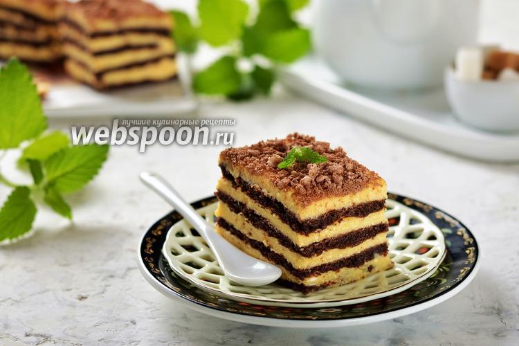 Фото Песочный торт с творожным кремом