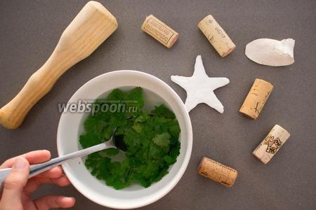 Подготовим заправку. Снимите зелень мяты и петрушки (по 1 пучку) со стеблей, положите в посуду. Залейте кипятком, затем сразу же опустите в холодную воду.