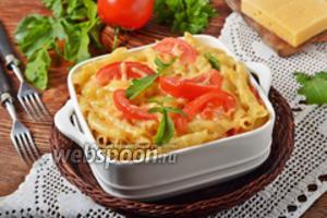 Макароны, запечённые с помидорами под сыром