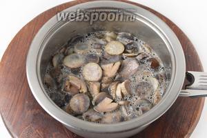 250 грамм грибов очистить, нарезать кусочками и отварить 15 минут.