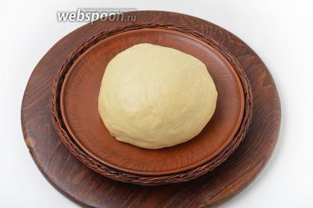 Замесить тесто и оставить его в тёплом месте на 1,5 часа.