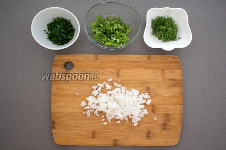 Мелко нарубить 1/4 часть лука репчатого, петрушку, укроп (3 веточки) и зелёный лучок (15 грамм).