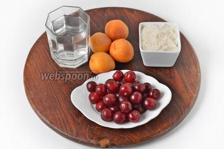 Для работы нам понадобится сахар, вода, абрикосы, вишня.