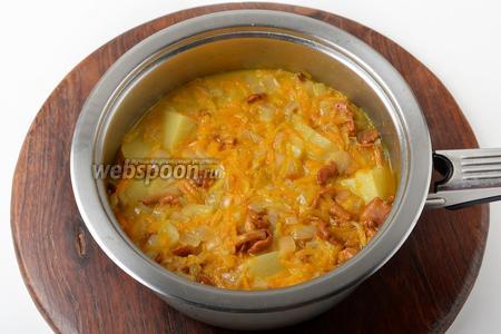 Довести до кипения и готовить под крышкой 20 минут (до готовности картофеля).