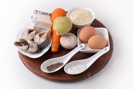 Для работы нам понадобится селёдка, картофель, морковь, репчатый лук, яйца, майонез, плавленый сыр типа «Дружба», соль, чёрный молотый перец.
