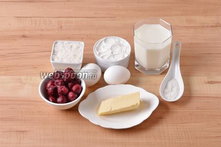 Для работы нам понадобится мука, яйца, молоко, мука, соль, сахар, сливочное масло, замороженная вишня.