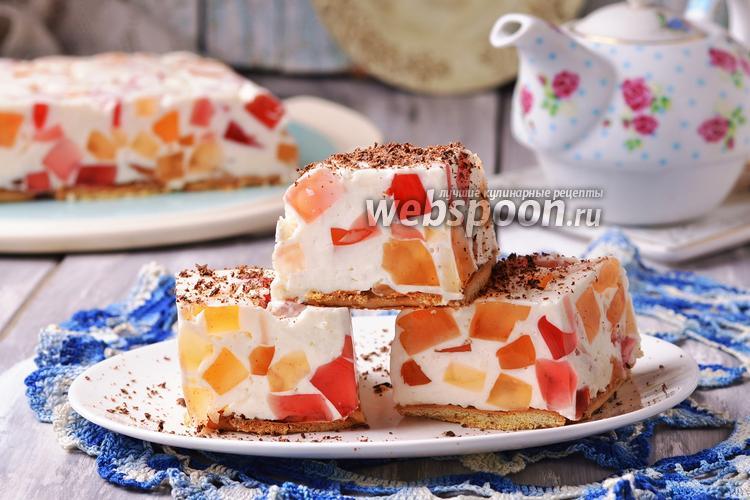 Фото Торт «Битое стекло» с печеньем