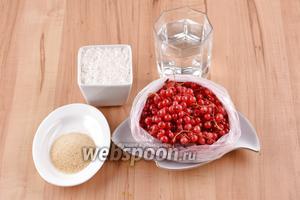 Для работы нам понадобится вода, замороженная красная смородина, сахар, быстрорастворимый желатин.