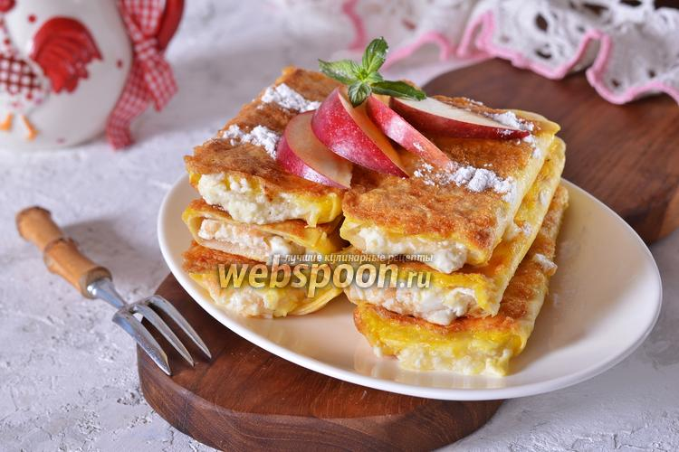 Фото Лаваш с творогом и яблоками на сковороде