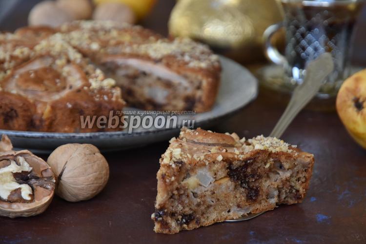 Фото Грушевый пирог с шоколадом и орехами