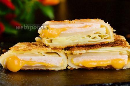 Капуста с ветчиной и сыром в сухарях. Видео-рецепт видео рецепт