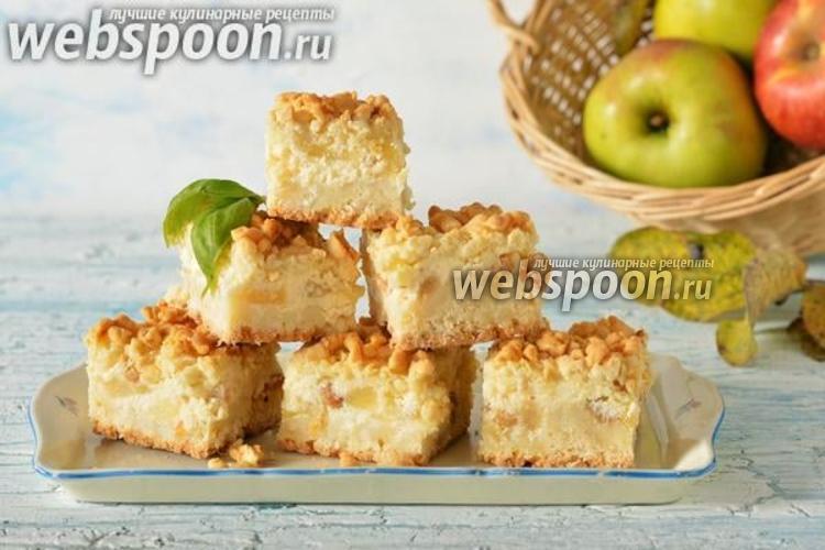 Фото Тёртый пирог с творогом и яблоками