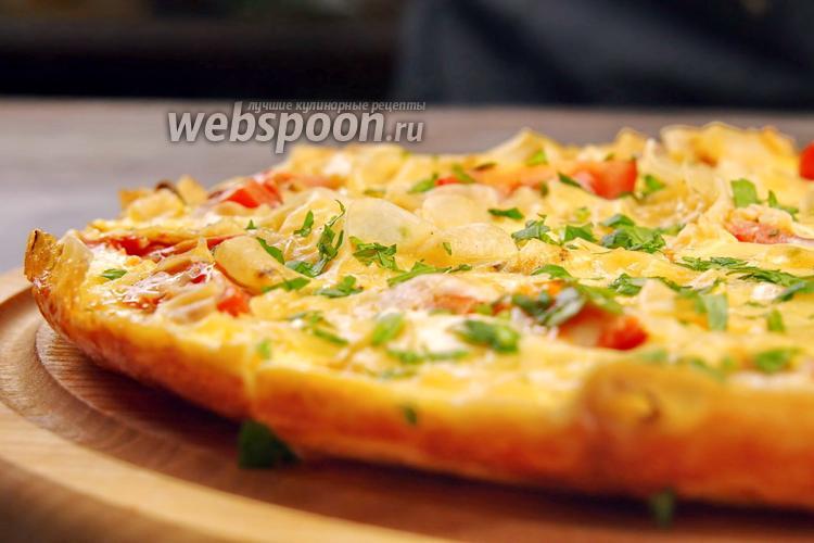 Фото Омлет с лавашом и сыром сулугуни. Видео-рецепт