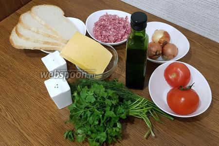 Для приготовления бутербродов с фаршем, нам понадобится хлеб для тостов, говяжий фарш (можно использовать любой фарш), репчатый лук, помидоры, сыр, петрушка, укроп, соль, перец молотый чёрный, растительное масло (для жарки).