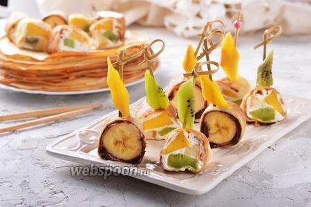 Блинные роллы с фруктами