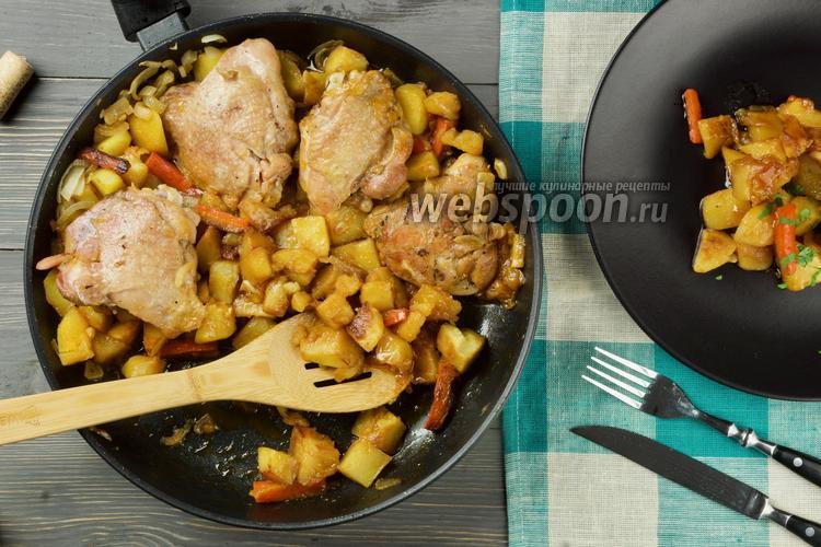Фото Курица в медово-соевом соусе с картошкой