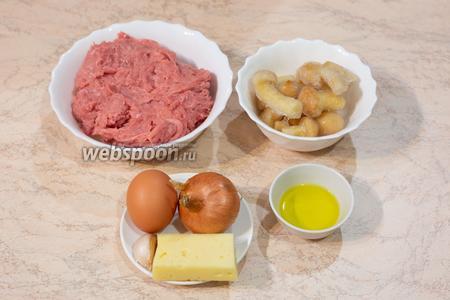 Для приготовления мясного хлеба с индейкой и опятами необходимы такие продукты: индюшиный фарш, опята, твёрдый сыр, яйцо, луковица, растительное масло, соль, перец по вкусу.