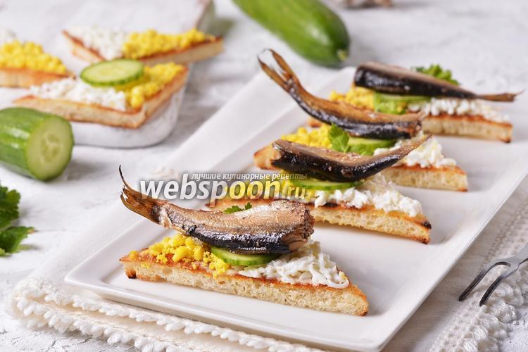 Фото Чесночные гренки со шпротами и яйцом