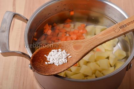 Добавить к овощам 60 грамм круглозернистого риса и 15 грамм соли. Готовить 15-17 минут.