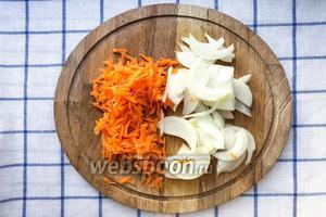 1 луковицу порезать на полукольца, 1 морковь натереть на крупной тёрке.