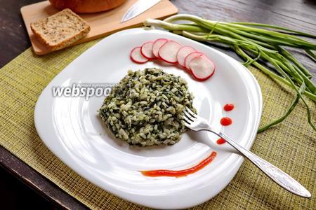 Зелёный плов со шпинатом и зелёным луком