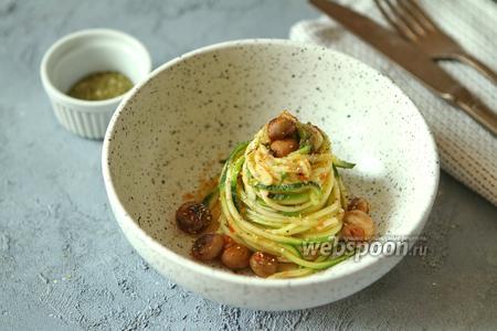 Фото рецепта Паста из цукини с грибами