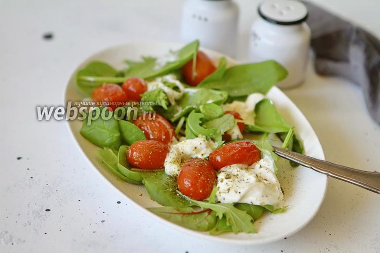 Фото Салат из запечённых помидор черри со Страчателлой