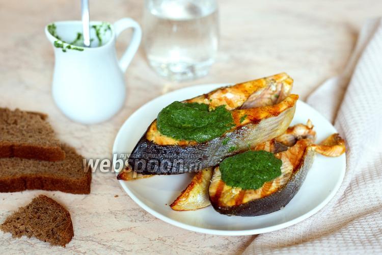 Фото Горбуша в шпинатном соусе