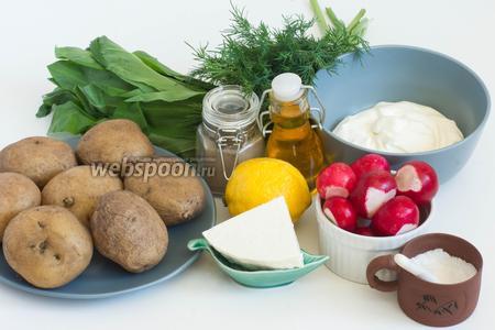 Подготовьте продукты, которые потребуются для приготовления салата: картофель отваренный в мундирах, редис, свежие черемша и укроп, сметана, адыгейский сыр, соль, чёрный молотый перец, лимон для сока, масло растительное (у меня кукурузное не рафинированное).