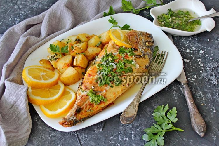 Фото Дорада запечённая в духовке с лимоном и зелёным маслом