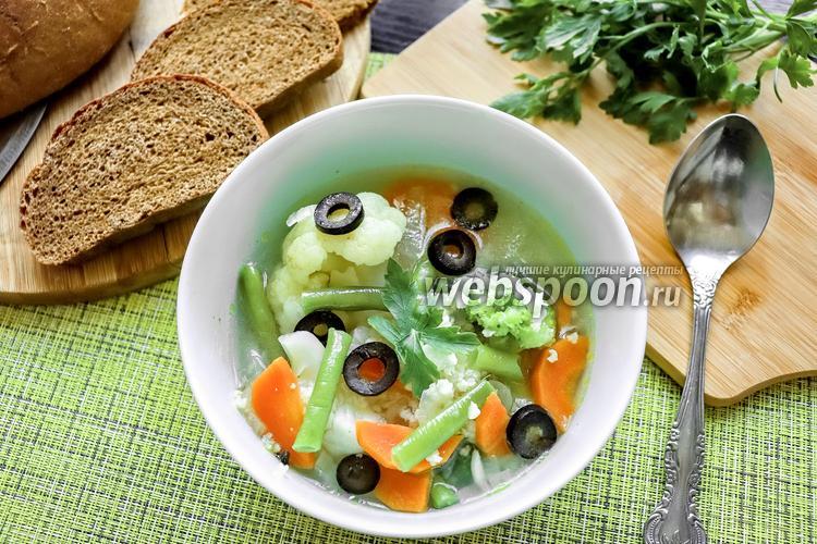 Фото Овощной суп с маслинами