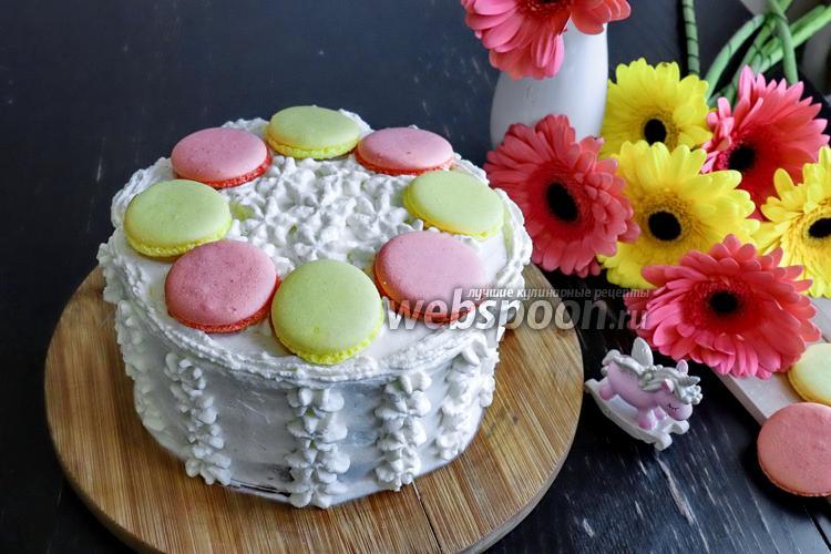 Фото Бисквитный торт из кокосовой муки с крем-чизом