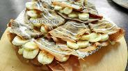 Фото рецепта Шоколадные блинчики с банановой начинкой