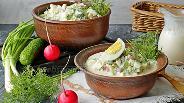 Фото рецепта Окрошка с курицей на ряженке