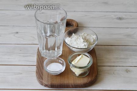 Для приготовления теста вам понадобится мука пшеничная, вода, соль и сливочное масло.