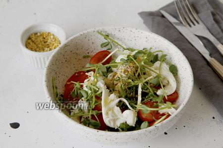 Салат из микрозелени с помидорами и сыром Моцарелла
