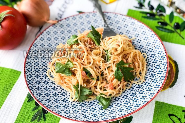 Фото Спагетти с яйцом и помидорами
